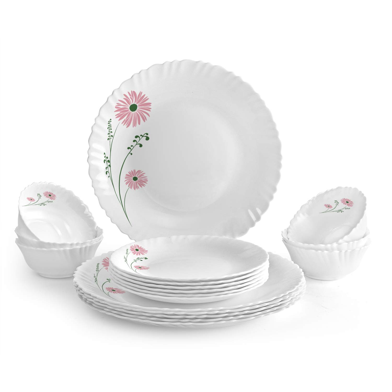 Cello Pink Lilac Opalware Dinner Set, 18-Pieces, White