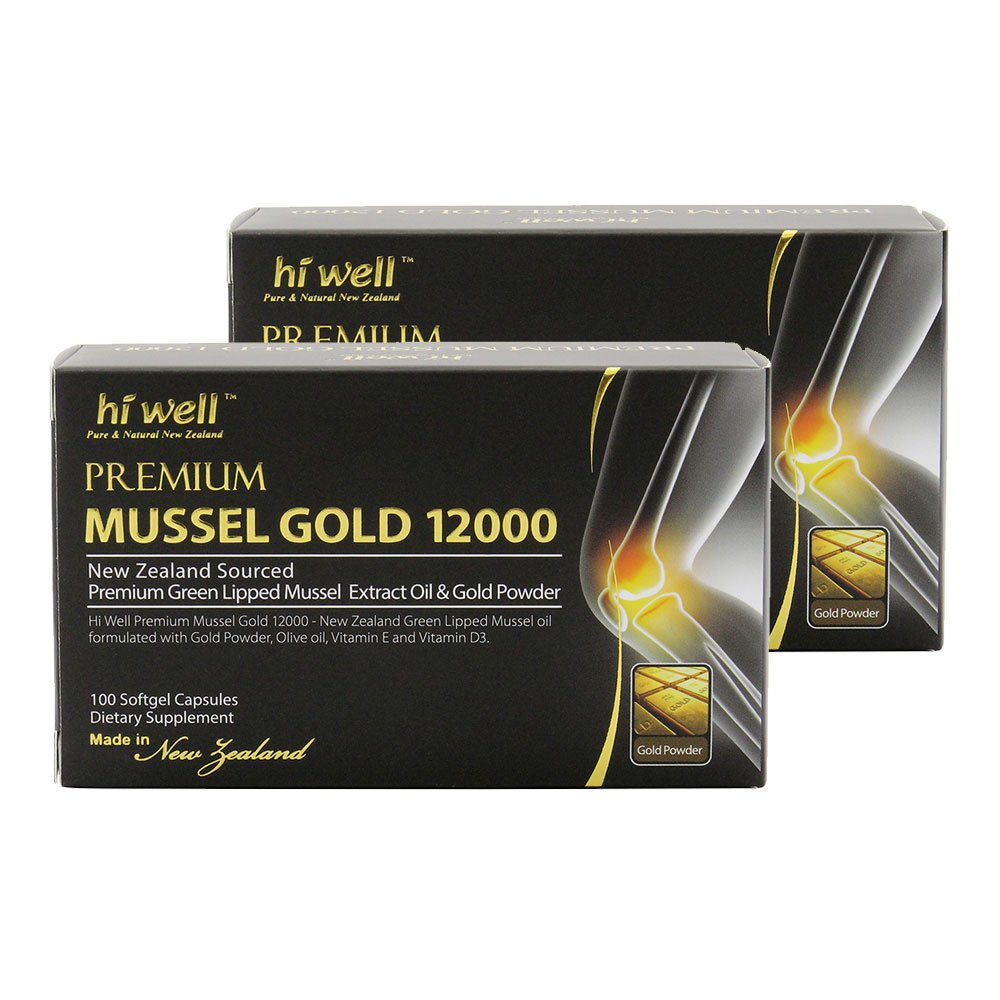 Hi Well Mussel Gold 12000mg 100 Capsules New Zealand Green Lipped Mussel Extract Oil & Gold Powder, Vitamin E and Vitamin D3 Joint Health Support & Mobility (Pack of 2) by Hi Well