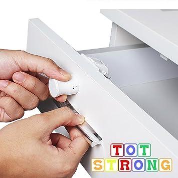 Tot fuerte niño seguridad cierres de seguridad para armarios magnético con herramienta para fácil instalación sin necesidad de herramientas o tornillos (4 cerraduras + 1 llave): Amazon.es: Hogar