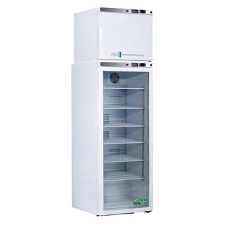 Capacity ft White 7 cu 1 Glass//1 Solid Door American BioTech Supply ABT-HC-RFC7 Premier Combination Refrigerator//Freezer
