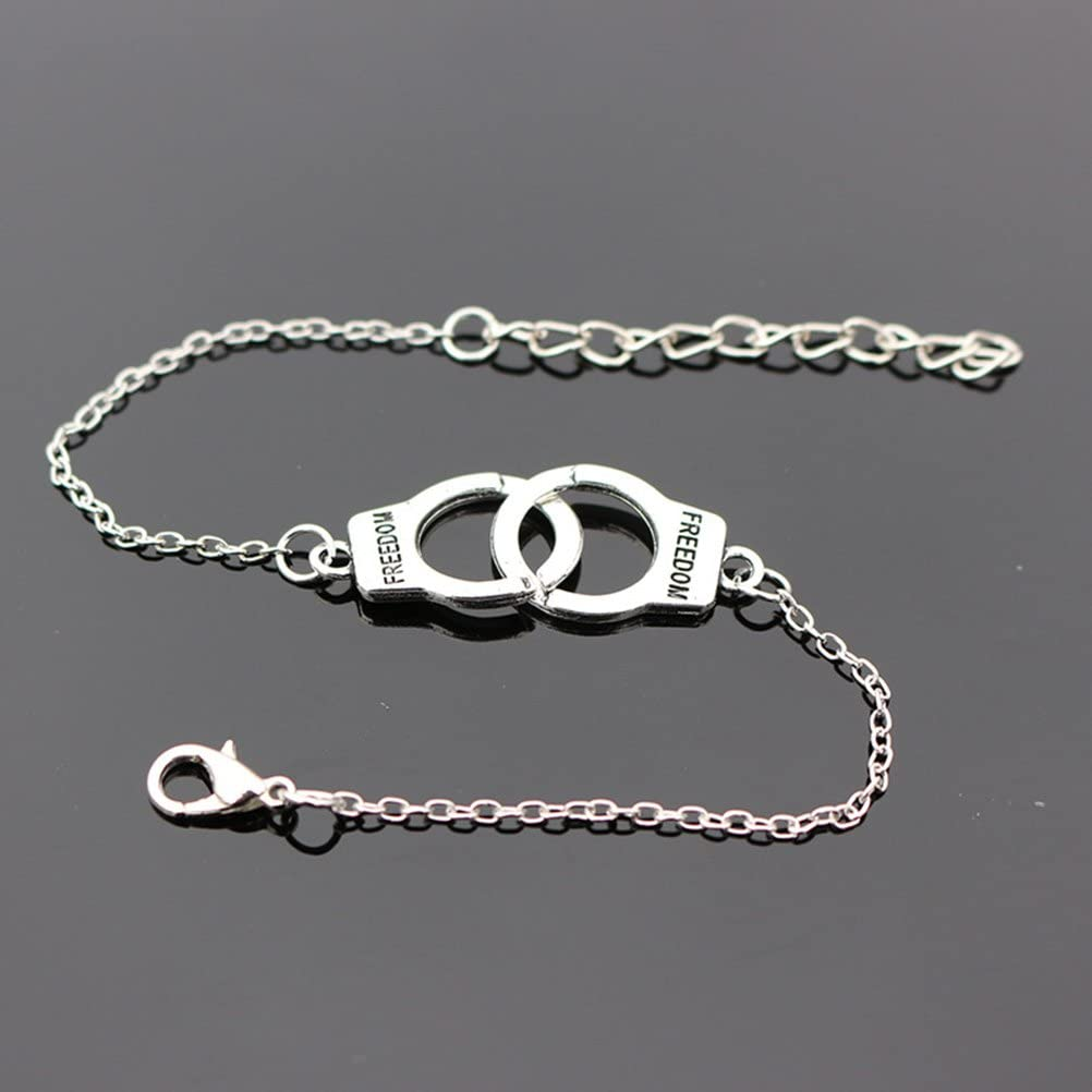 Pour un couple un cadeau Bestoyard Bijou pour homme ou femme Cha/îne de cheville un festival Argent/é Bracelet tendance en forme de menottes