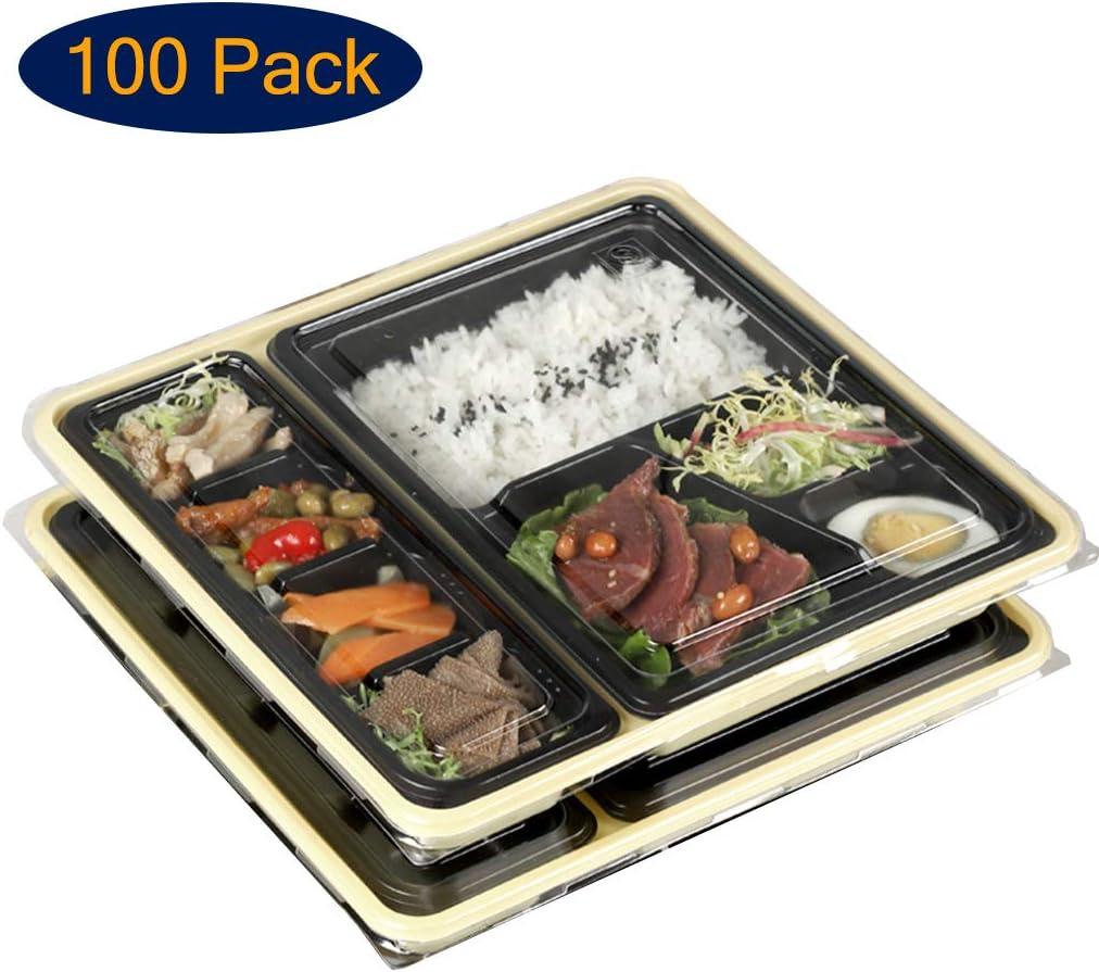 ADKINC [100パック]食事準備容器、蓋付き、8つのコンパートメント使い捨てプラスチックベント絶縁ランチボックス、積み重ね可能、電子レンジ可能、冷凍庫セーフ