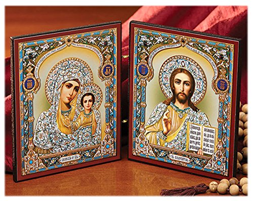 Kazan Icon (Madonna and Child Russian Diptych Icon Virgin of Kazan and Christ the Teacher 9 1/2 Inches)