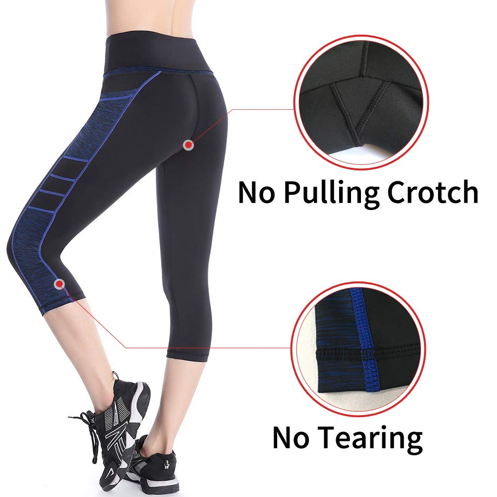 Se Yo Womens Leggings High Waist Yoga Pants Pocket Running Workout Tights No See Through Capri Leggings