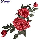 Wicemoon Sew iron on parche bordado de peonía pegatinas adhesivos ropa Applique DIY accesorios decorativos collar flores