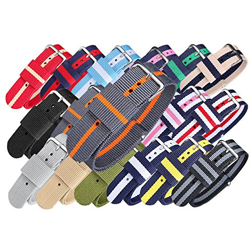Price comparison product image CUCOL 2PC Nylon Watch Band Replacement Watch Strap 22mm(black and grey / orange)
