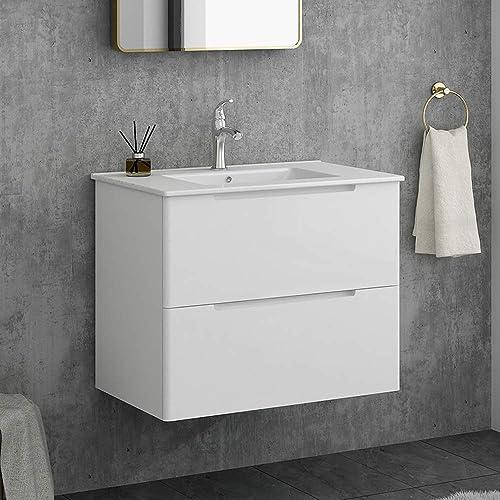 Modern 29 White Wall-Mounted Bathroom Vanity,2-Drawers Bathroom Sink Storage Cabinet Vanity Combo Set