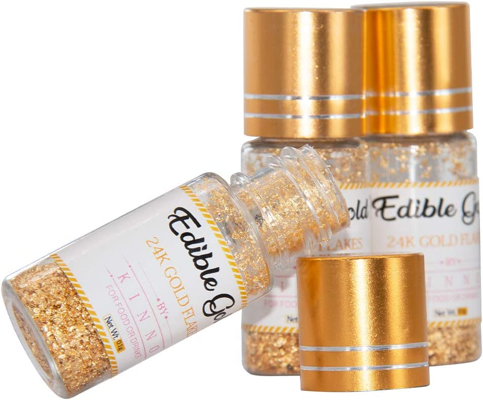 Cake Decorating KINNO Metallic Gold Glitter Flakes for Drinks 0.1g 24K Edible Pure Gold Flakes and Sprinkles