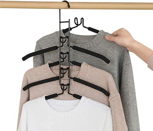 Percha multifuncional Organizador para adultos que ahorra espacio Perchas 5 en 1 Perchas antideslizantes con esponja EVA multicapa para chaqueta Abrigo Su/éter Pantalones Camiseta