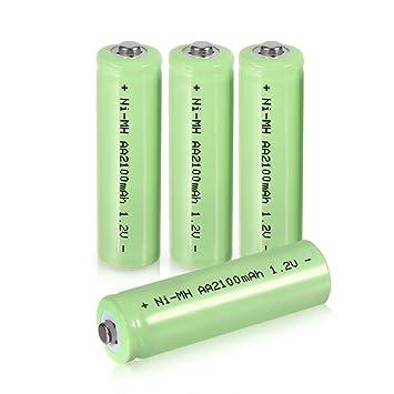 Amazon.com: Pilas Recargables AA Ni-MH batería cabeza plana ...