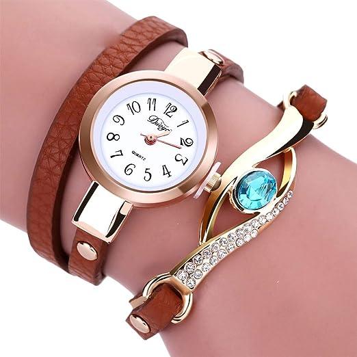 Duoya Relojes de moda Brand New Women Pulsera Correa de cuero Reloj de cristal Cadena larga