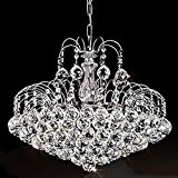 Wei-d European-Style Luxury Silver Led Round Crystal Gold Chandelier Living Room Pendant Light , Silver , 55cm