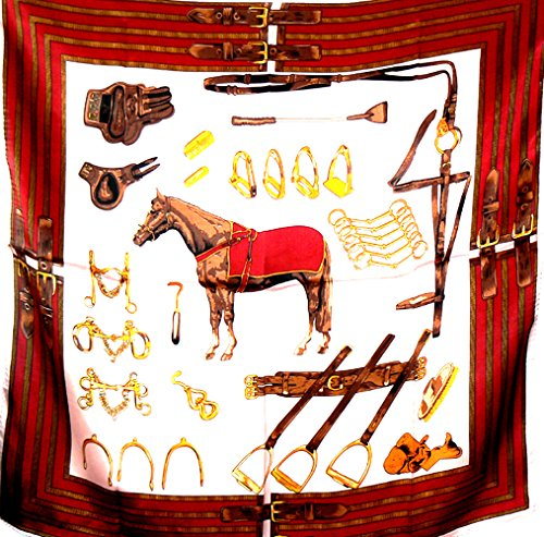 Silk Salon 100% Luxurious Charmeuse Silk Scarf Shawl Wrap Horse Equestrian Pink A264 - Equestrian Silk Scarf