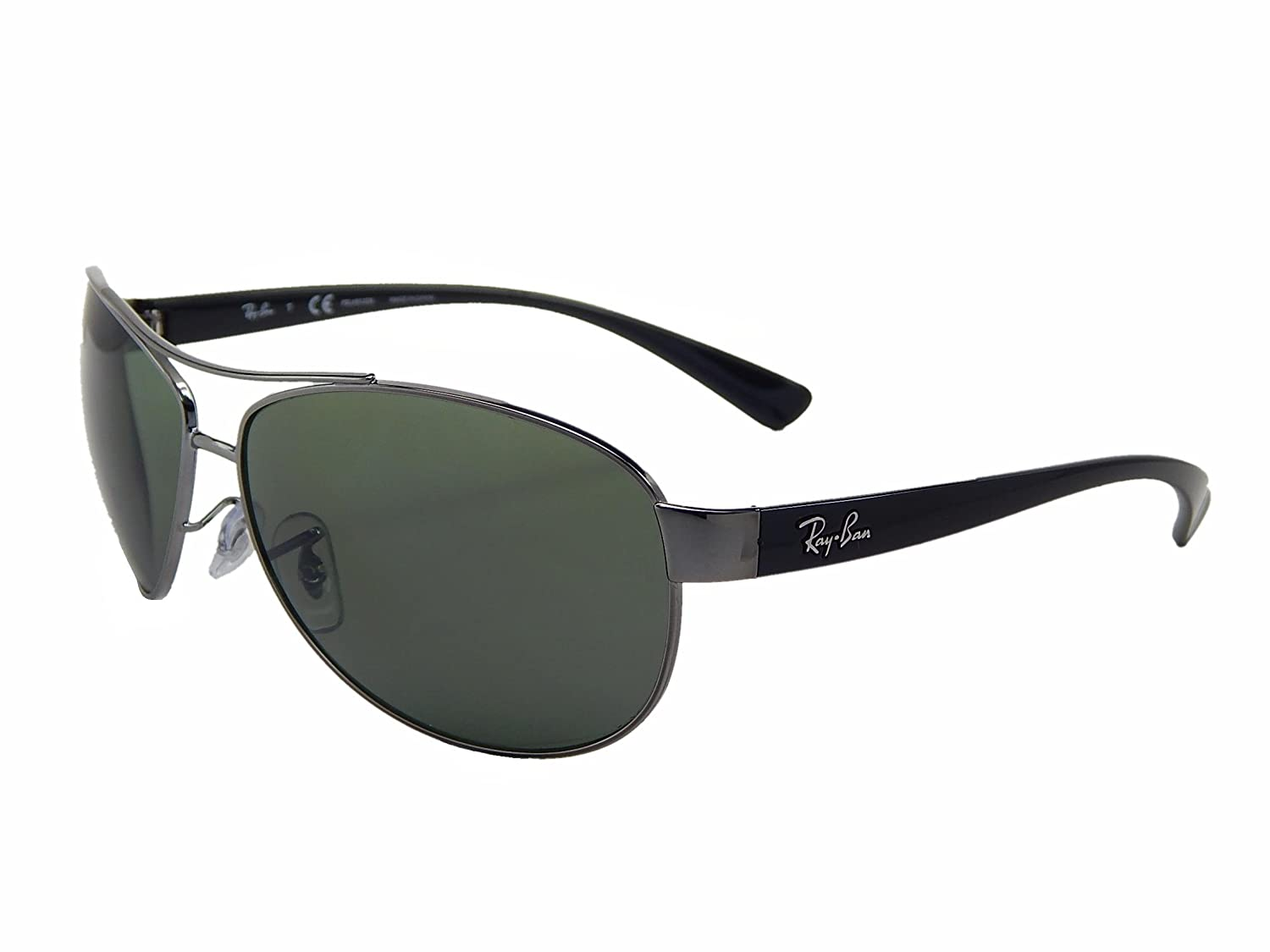 e421e919e69 Amazon.com  New Ray Ban RB3386 004 9A Gunmetal  Green 67mm Polarized  Sunglasses  Clothing