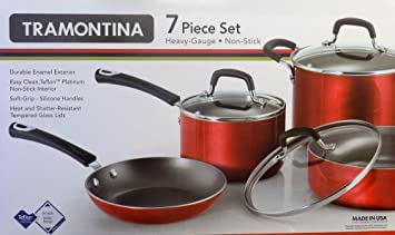 Tramontina antiadherente de gran grosor 7 piezas Batería de cocina ...