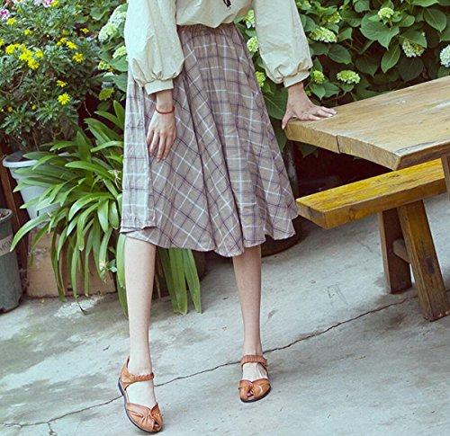 Zapatos de Las Zapatos DANDANJIE de mamá caseros de Cuero 2018 de Sandalias Sandalias Plano Mujeres Zapatos tacón Suaves de Vendimia la Marrón Verano de AqZw47q1x