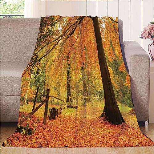 Throw Blanket Super soft and Cozy Fleece Blanket Perfect for Couch Sofa or bed,Farm House Decor,Autumn Fall Forest Scene with Vibrant Colors and Pale Leaves Tranquil Peace Nature,Orange - Fleece Scene Blanket