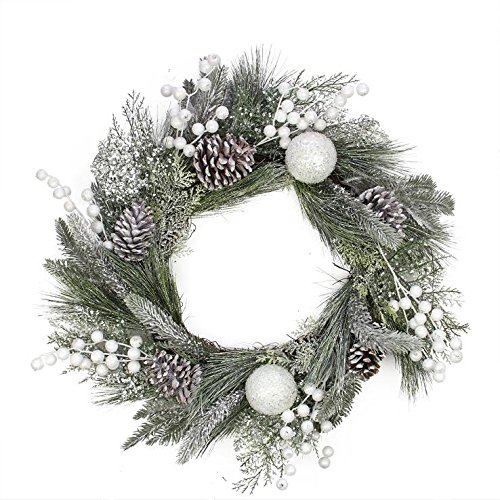Frosted Artificial Mixed Pine Cone & White Berries Wreath