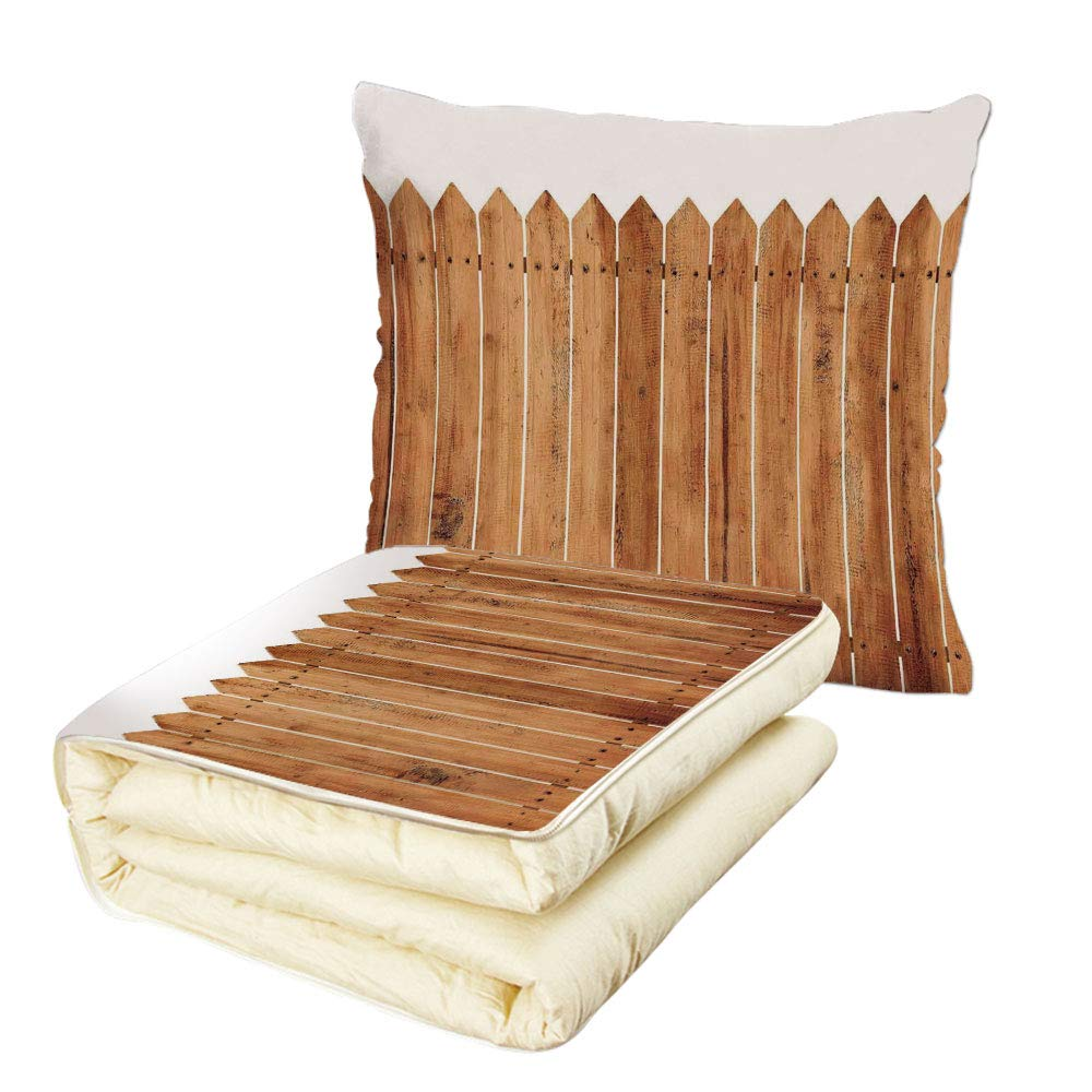 iPrint Quilt Dual-Use Pillow Farm House Decor Triangle Edged Timber Border Stripes Siding Woodwork Enclosing Tool Image Multifunctional Air-Conditioning Quilt White Brown