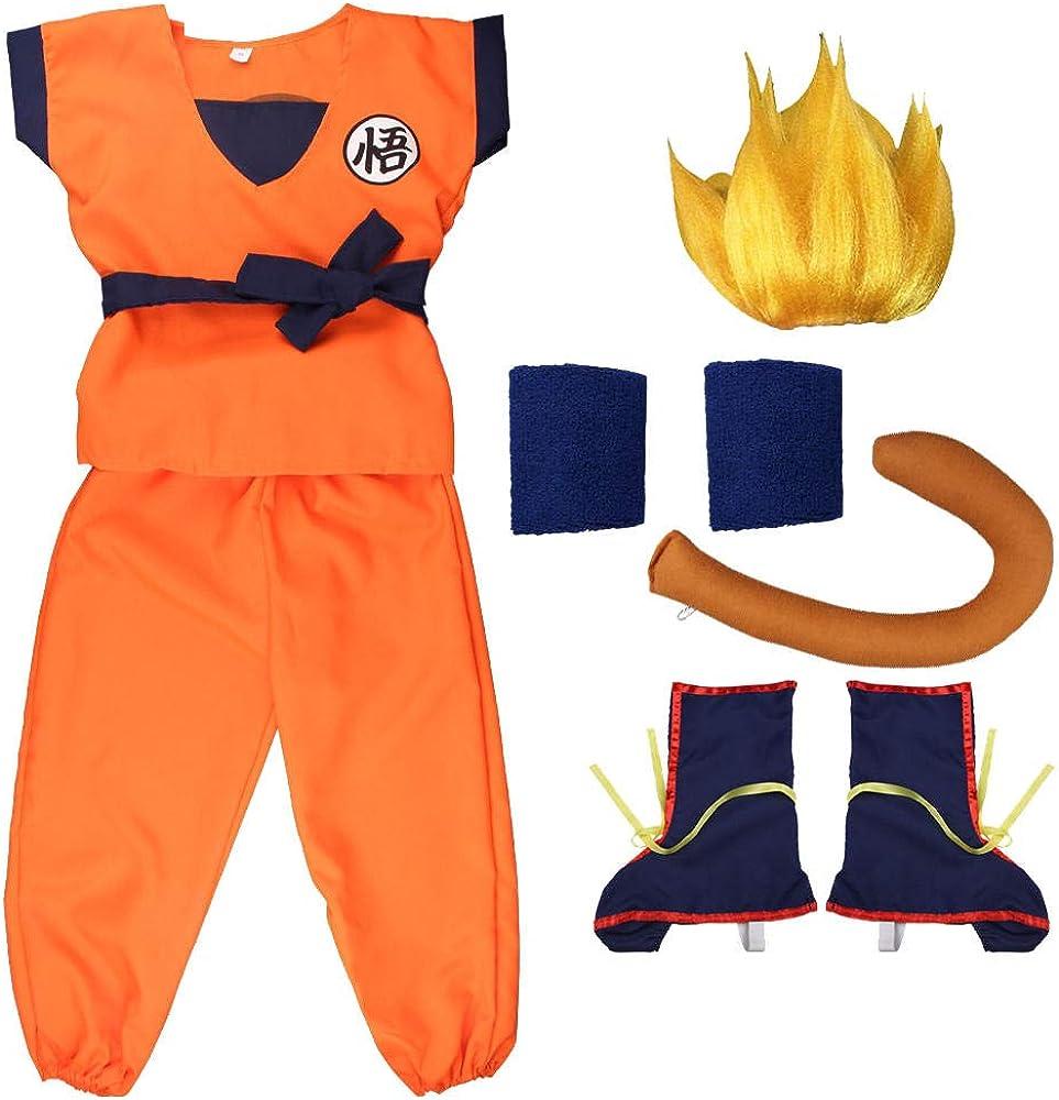 Nobranded Costumi Anime Dragon Ball per Son Goku Halloween Carnevale Anime Costumi Cosplay per Bambini Adulti