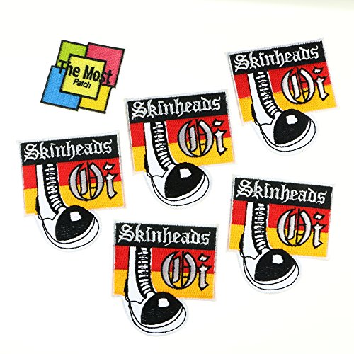 Lot of 6 (5+1) Oi Skinheads Punk Rock Heavy Metal Music Band Logo Embroidered Iron / Sew On - Subculture Indie