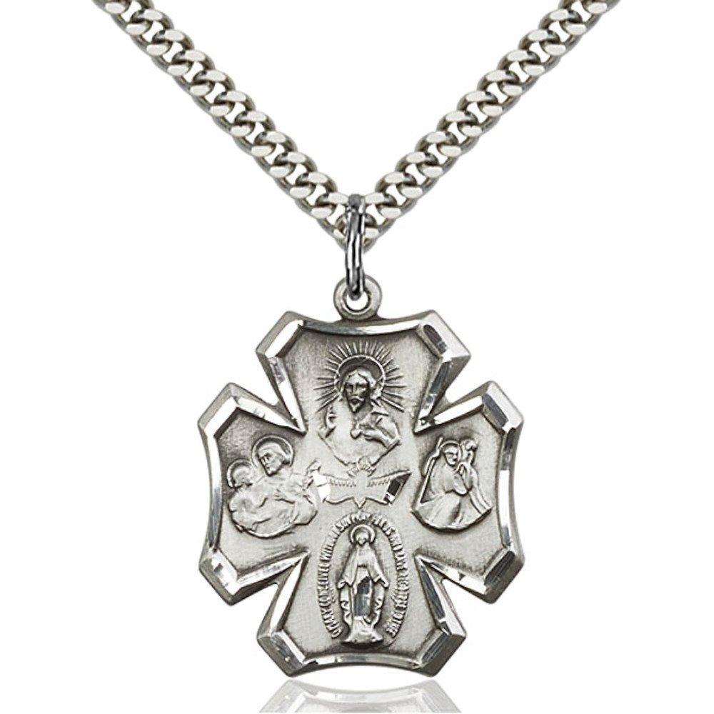 Bonyak Jewelry スターリングシルバー 4ウェイペンダント 1 x 7/8インチ 重厚なカーブチェーン付き   B00P5LE4YW