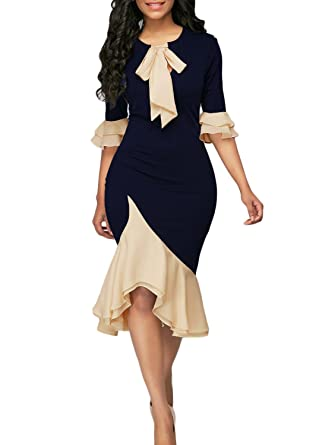 Lichene Womens Elegant Vintage Half Sleeve Bowknot Irregular Ruffle Hem Patchwork Fishtail Bodycon Party Pencil Midi