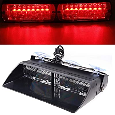 LED Emergency Strobe Lights Bar DIBMS 16 LED Car Truck Warning Flashing Hazard Light Windshield Light For Interior Roof Dash Windshield With Suction Cups Red: Automotive