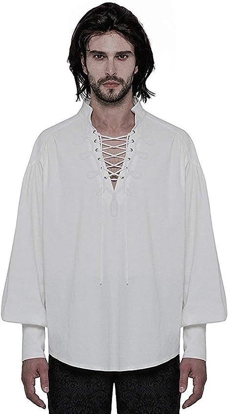 Punk Rave Hombre Steampunk Camiseta Pirata Top Blanco Gótico Poeta Vintage Medieval Cordones: Amazon.es: Ropa y accesorios