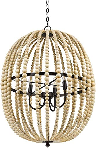 Stone Beam Modern Farmhouse Round Wood Bead Cage Chandelier Ceiling Fixture With 4 LED Light Bulbs – 23 x 23 x 33 Inches, Natural
