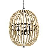 Amazon Brand – Stone & Beam Modern Farmhouse Round Wood Bead Cage Chandelier Ceiling Fixture With 4 LED Light Bulbs - 23 x 23 x 33 Inches, Natural