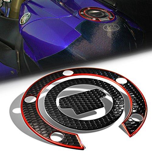 Pad Cap Fuel (3D Gas Tank Fuel Cap Cover Protector Pad for Yamaha R1/R6 YZF/FZR/FJ [Black & Red Trim])