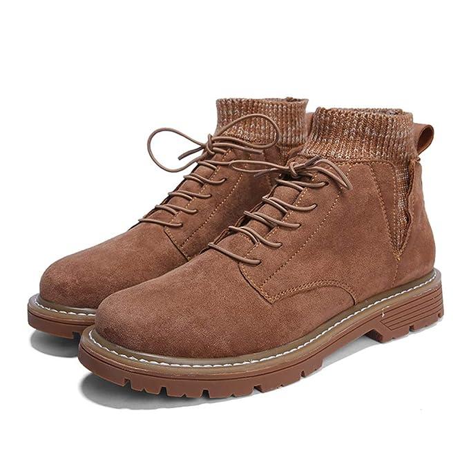 HILOTU Botas de Nieve para Hombre Botines Forrados de Piel Zapatos de Invierno Ligeros Antideslizantes Botas Antideslizantes con Cordones (Color : Marrón, ...