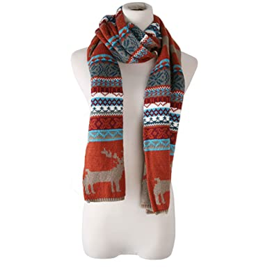 Candyanglehome Christmas Knitting Scarf Women Men Winter Warm Thick
