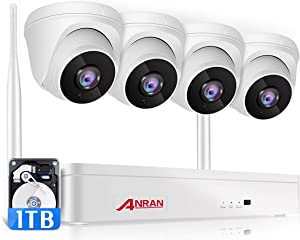 ANRAN Wireless Security Camera System 1080P with 1TB Hard Drive,8 Channel Surveillance NVR Kits 4Pcs 2.0MP Night Vision Home WiFi IP Security Audio Cameras,8CH Expandable,Motion Alert, Remote Access