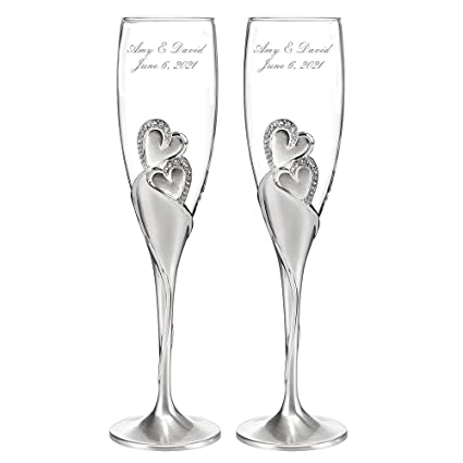 2f81a14dd6d Image Unavailable. Image not available for. Color  Personalized Wedding  Toasting Flutes ...