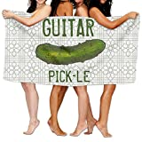Dianqusha Guitar Pickle Novelty Green Dill Pickles Women's Adjustable Microfiber Plush Spa Bath Shower Wrap For College Dorms, Pools, Gyms, Beaches, Locker Rooms, Bathroom