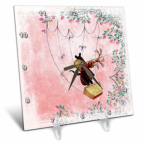 3dRose Uta Naumann Watercolor Animal Illustration - Kids Illustration- Little Bear Flying in Balloon Framed with Flowers - 6x6 Desk Clock (dc_265448_1) by 3dRose