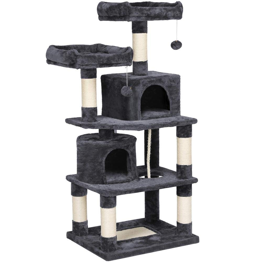 Yaheetech Cat Tree Condo with Scratching Board, Cozy Perches 57in by Yaheetech
