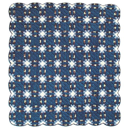 Patch Magic King Blue Double Wedding Ring Quilt, 105-Inch...