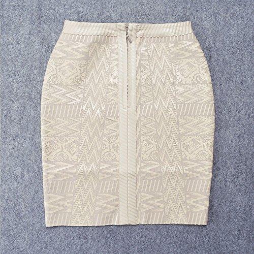Arabesquitic Bandage Waist High Pu Hlbandage Beige Leather Rayon Skirt OwZEqnYa