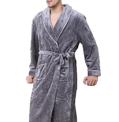 Autumn And Winter Warm Thicken Flannel Men Pajamas Gowns Long ...