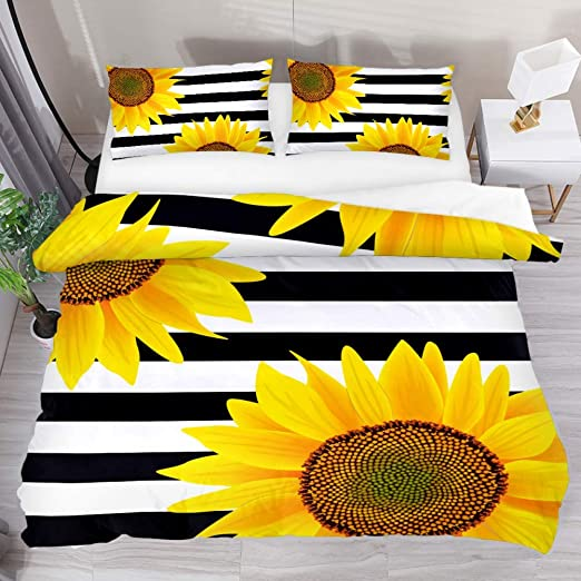 Grey Stripe # Reversible Bedding ALL SIZES Sunflower Duvet Quilt Cover Yellow