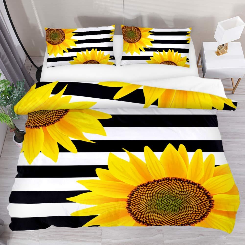 3 Pieces Yellow Sunflower Black White Stripe Duvet Cover Set (1 Duvet Cover + 2 Pillowcases) Extra Long Twin Size Breathable Bedding Sets Room Decor for Kids Children Girls Boys Teens