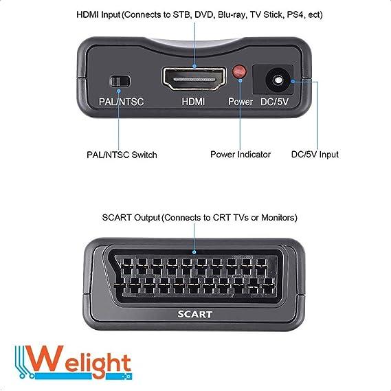 Adaptador HDMI a SCART Euroconector Convertidor Xbox Playstation 3 ...