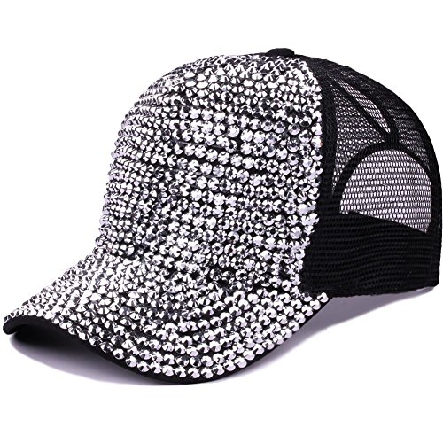 Women Bling Studded Rhinestone Crystal Love Lips Baseball Caps Hats (Baseball Slides)