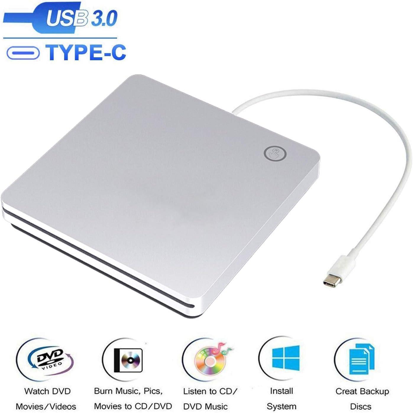 Xglysmyc External USB C Superdrive Ultra Slim USB3.0 CD DVD Drive Burner External CD/DVD +/-RW Writer Reader Player with High Speed Data for MacBook Pro Air/Laptop/Windows/Mac OSX -Silver