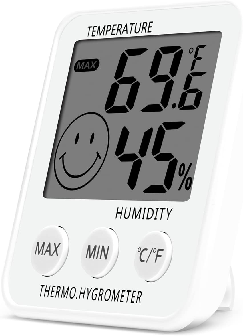 SoeKoa Digital Thermometer Indoor Hygrometer Humidity Meter Room Temperature Monitor Large LCD Display Max/Min Records for Home Car Office White