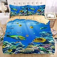 Helengili 3D Digital Printing Bedding Set Submarine World Ocean Sea Coral Polypite Fish Turtle Bedding Bedclothes Duvet Cover Sets Bedlinen 100 Percent Microfiber Present