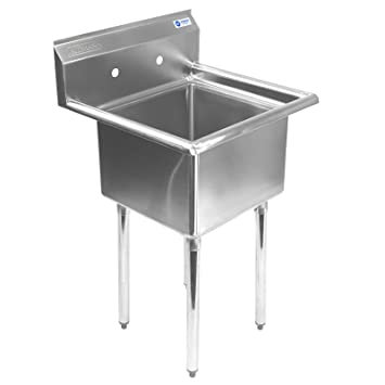 Gridmann 1 Compartment NSF Stainless Steel Commercial Kitchen Prep U0026 Utility  Sink   23.5 In.